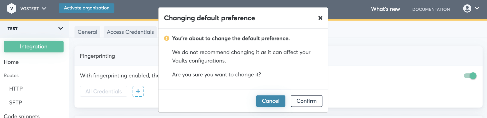 Changing default preference modal